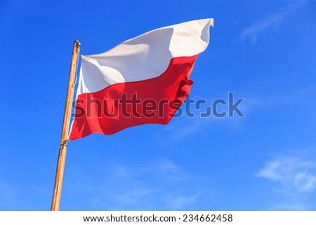 Polish flag on the blue sky - stock photo