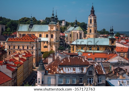polish historical city of Przemysl from a tower, cityscape of the tourist historic center