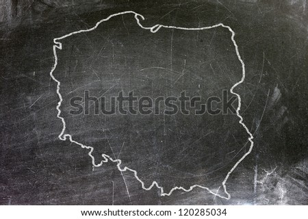 Polish map on a black plate. Map drawn with white chalk. - stock photo