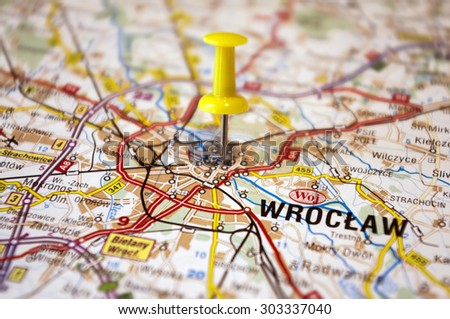 Polish Map Marked Wroclaw City Stock Photo 303337040 Shutterstock