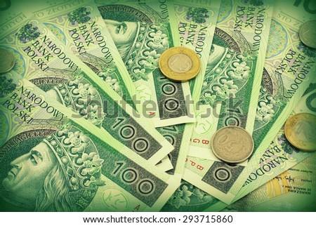 Polish money (bills and coins) - stock photo