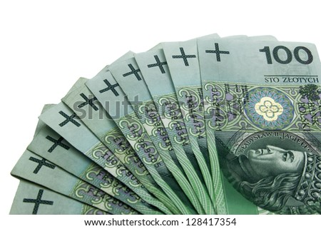 polish money, hundreds zloty banknotes - stock photo