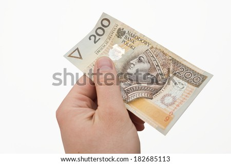 Polish money in hand isolated