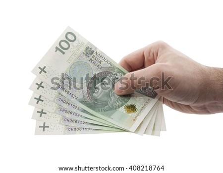 Polish money in hand with clipping path
