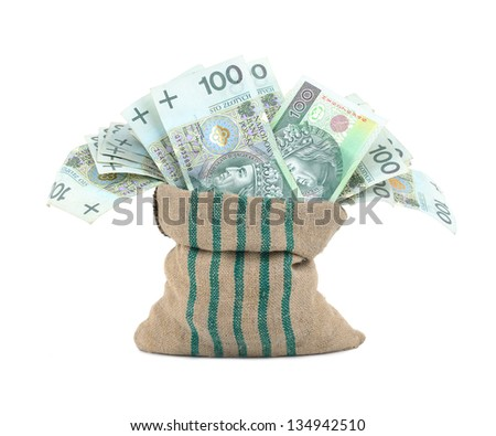 Polish money in the bag isolated on white - stock photo