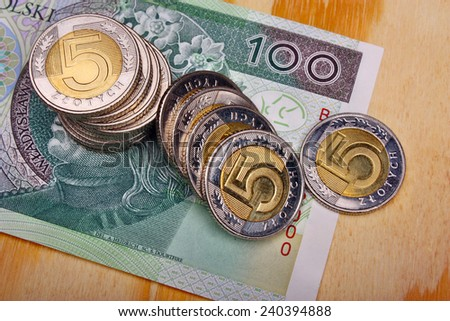 Polish money  on the wooden table - stock photo