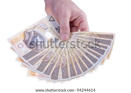 Polish money two hundred zloty - stock photo