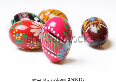 Polish painted easter eggs on white background