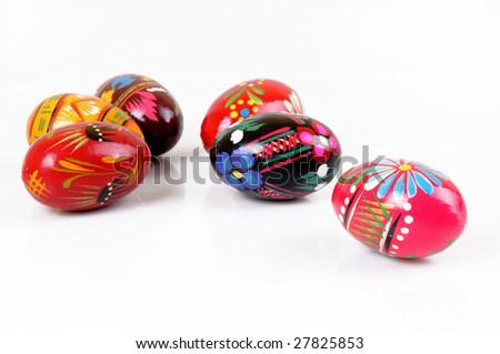Polish painted easter eggs on white background - stock photo