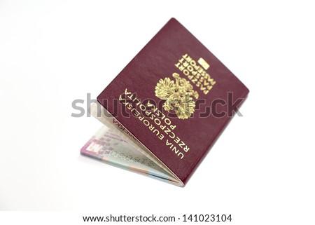 Polish passport on a white background - stock photo
