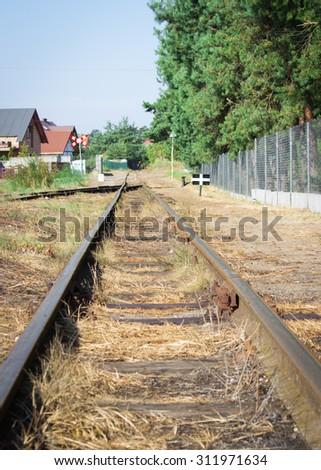 Polish seaside narrow-gauge railway.  Jantar station.  - stock photo