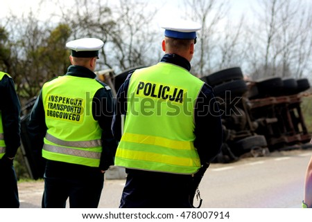 Polish traffic police and inspection of road transport by truck accident
