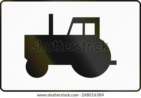 Polish traffic sign additional panel to specify the meaning of other signs: Tractors/Slow vehicles - stock photo