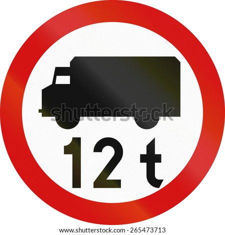 Polish traffic sign prohibiting thoroughfare of lorries with a gross weight over 12 metric tons.