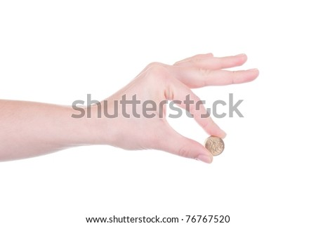Polish Zloty coin in female hand isolated
