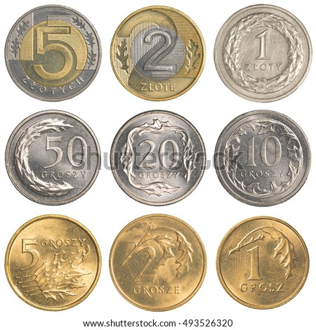 Polish Zloty coins collection set isolated on white background