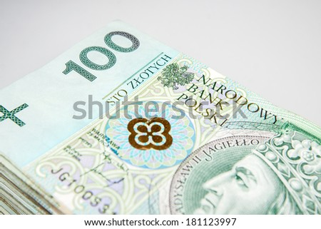 Polish zloty currency in denominations of 100 PLN