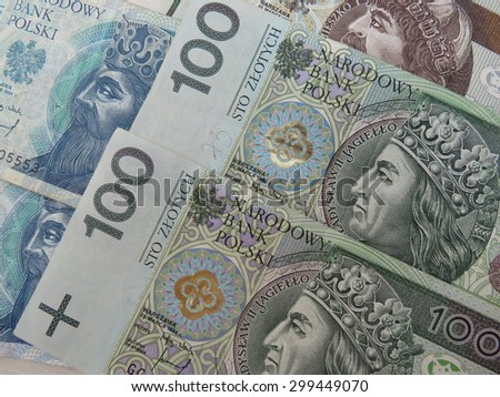 Polish zloty (PLN) currency - banknotes from Poland - stock photo