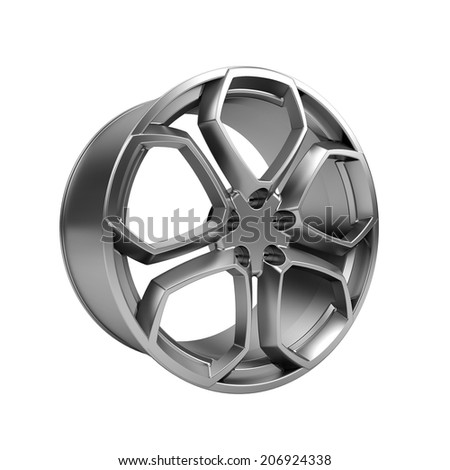 Polished chrome car rim wheel on white - stock photo