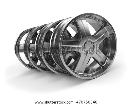 Polished chrome rim wheels in the garage. 3D Rendering.