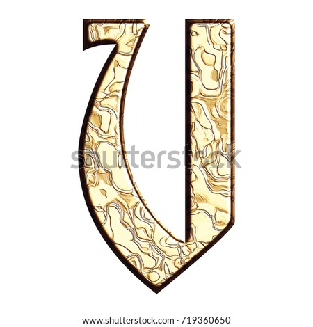 Polished gold style uppercase or capital letter V in a 3D illustration with a flat golden tarnished metal wavy patterned surface and ancient font isolated on a white background with clipping path.