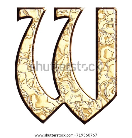 Polished gold style uppercase or capital letter W in a 3D illustration with a flat golden tarnished metal wavy patterned surface and ancient font isolated on a white background with clipping path.