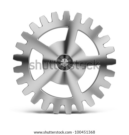polished stainless steel gear. 3d image. Isolated white background. - stock photo