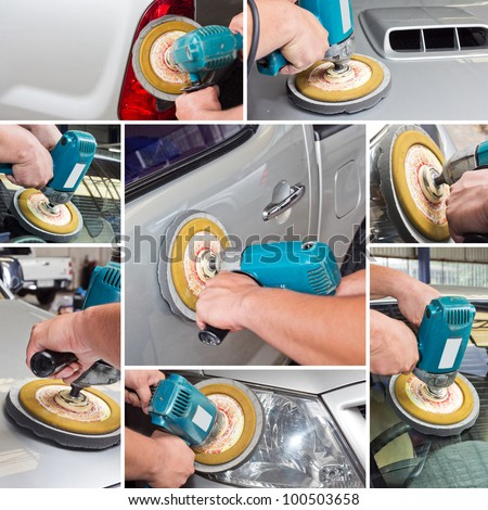 polishing with power buffer machine. CAR CARE images collage - stock photo