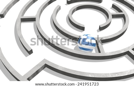 politic problem between greece and europe union relative background. national flag textured sphere in maze