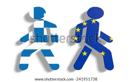 politic problem between greece and europe union relative background. road sign pedestrians national flags - stock photo