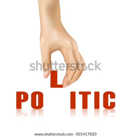 politic word taken away by hand over white background