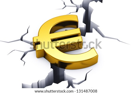 Political and economical concept: financial crisis in European Union - golden shiny Euro currency symbol tending to drop down into opening crack in white ground - stock photo