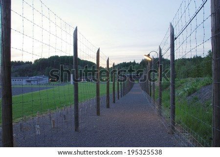 Political concentration camp Vojna in the Czech Republic evening - stock photo