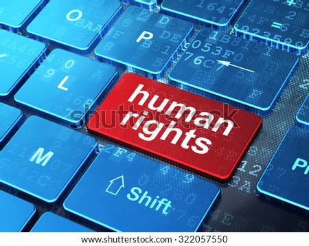 Political concept: computer keyboard with word Human Rights on enter button background, 3d render - stock photo