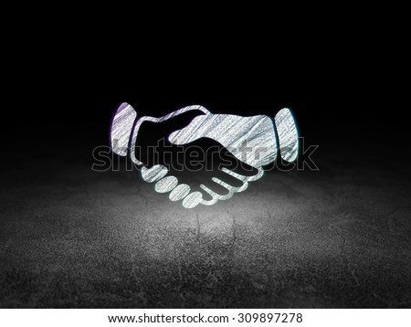 Political concept: Glowing Handshake icon in grunge dark room with Dirty Floor, black background - stock photo