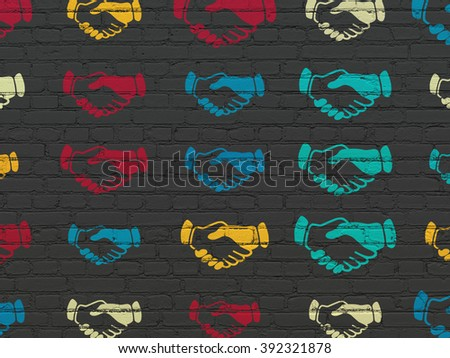 Political concept: Handshake icons on wall background - stock photo