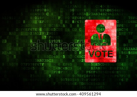 Political concept: pixelated Ballot icon on digital background, empty copyspace for card, text, advertising - stock photo