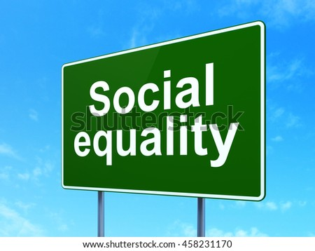 Political concept: Social Equality on green road highway sign, clear blue sky background, 3D rendering - stock photo
