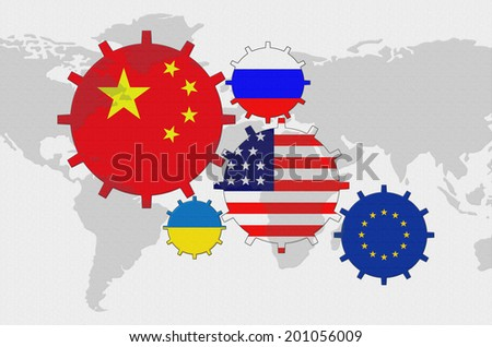 Political conflict background flags on world stock illustration political conflict background flags on the world map in the form of gears china gumiabroncs Image collections