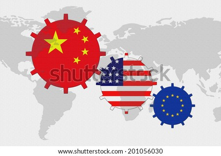 Political conflict world map background gears stock illustration political conflict of the world map background gears with flags china usa european gumiabroncs