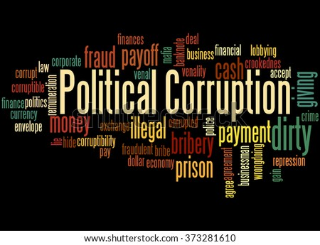 Political Corruption, word cloud concept on black background. - stock photo