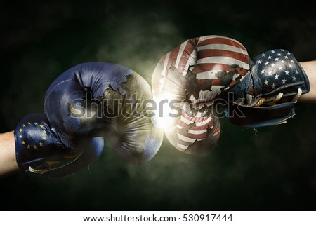 Political Crisis between EU and USA symbolized with Boxing Gloves