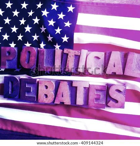 Political debates words on USA flag - stock photo