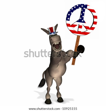 Political Donkey with Peace Sign - Democrat - stock photo