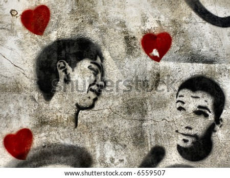 Political Gay graffiti stencil with hearts. Similar to Banksy work - stock photo