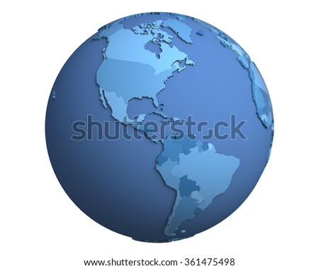 Political globe with blue, extruded countries, centered on the Americas - stock photo