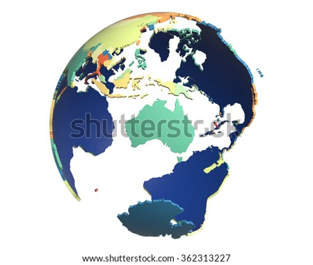 Political globe with colored, extruded countries, centered on Australia