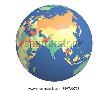 Political globe with colored, extruded countries, centered on India.