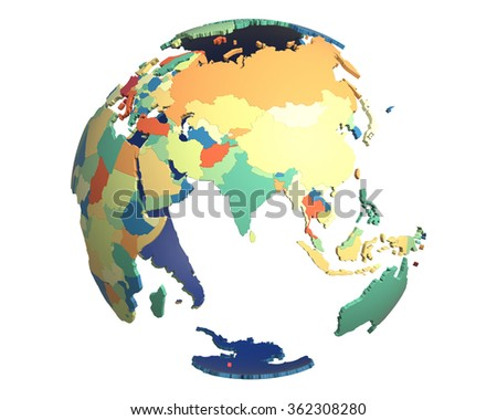 Political globe with colored, extruded countries, centered on India - stock photo
