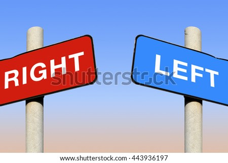 Political left and right signs against a blue sky, 3D illustration